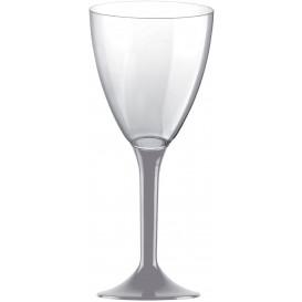 Calice Plastica per Vino Gambo Grigio 180ml (20 Pezzi)
