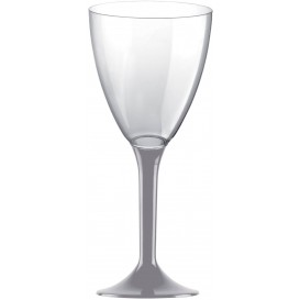 Calice Plastica Vino Gambo Grigio 180ml 2P (200 Pezzi)