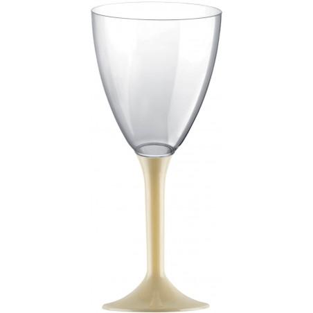 Calice Plastica per Vino Gambo Crema 180ml (20 Pezzi)