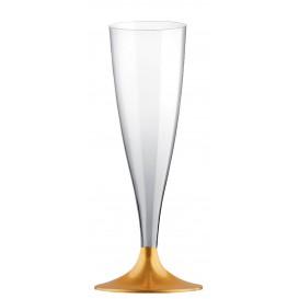 Calice di Plastica Flute Gambo Oro 140ml (200 Pezzi)
