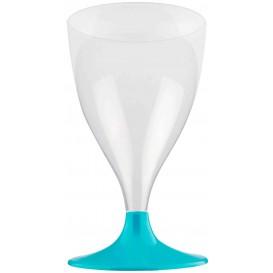 Calice Plastica per Vino Gambo Turchese 200ml (200 Pezzi)