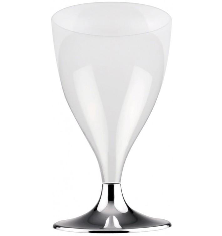 Calice Plastica Vino Gambo Argento Cromo 200ml 2P (20 Pezzi)