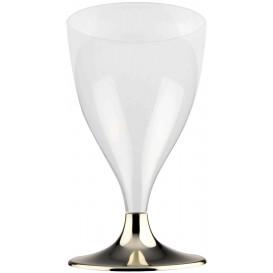 Calice Plastica Vino Gambo Oro Cromo 200ml 2P (20 Pezzi)
