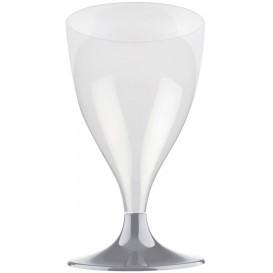 Calice Plastica per Vino Gambo Grigio 200ml (20 Pezzi)