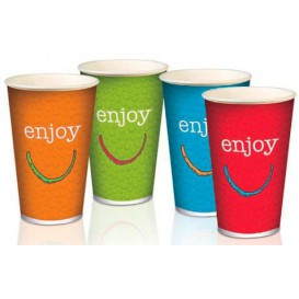 "Bicchiere di carta per bevanda fredda 16 Oz/500ml ""Enjoy""  (50 Uds)"