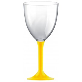 Calice Plastica per Vino Gambo Giallo 300ml (200 Pezzi)