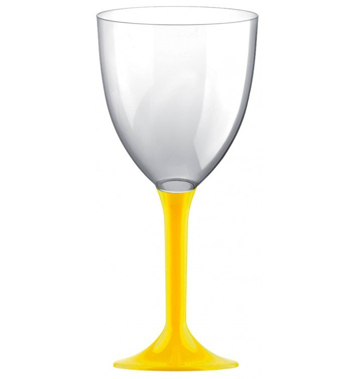 Calice Plastica Vino Gambo Giallo 300ml 2P (200 Pezzi)