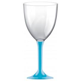 Calice Plastica per Vino Gambo Turchese 300ml (20 Pezzi)
