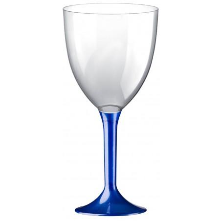 Calice Plastica per Vino Gambo Blu Perlato 300ml (200 Pezzi)