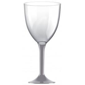 Calice Plastica per Vino Gambo Grigio 300ml (20 Pezzi)
