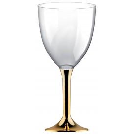 Calice Plastica per Vino Gambo Oro Cromo 180ml (20 Pezzi)