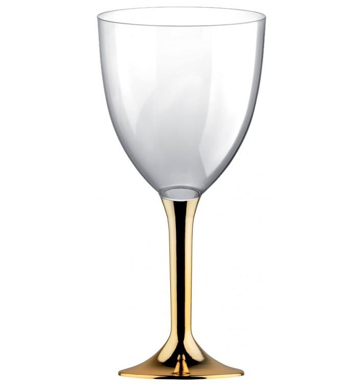 Calice Plastica Vino Gambo Oro Cromo 300ml 2P (200 Pezzi)