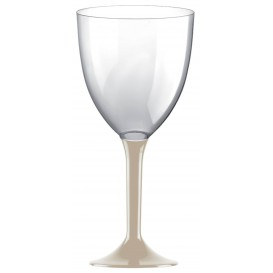 Calice Plastica per Vino Gambo Beige 300ml (20 Pezzi)