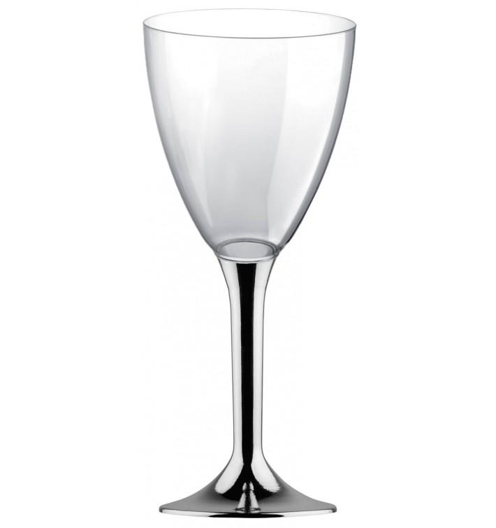 Calice Plastica Vino Gambo Argento Cromato 180ml 2P (20 Pezzi)