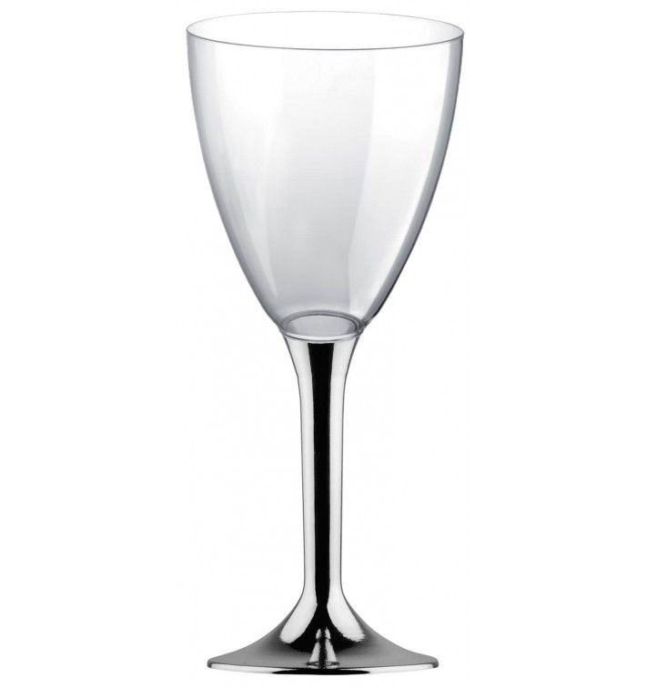 Calice Plastica Vino Gambo Argento Cromo 300ml 2P (20 Pezzi)
