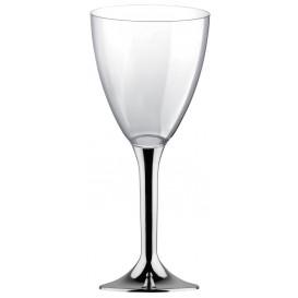 Calice Plastica per Vino Gambo Argento Cromo 300ml (200 Pezzi)