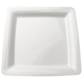 Piatto Plastica Rigida Quadrato Bianco 22,5x22,5cm (200 Pezzi)