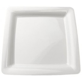 Piatto Plastica Rigida Quadrato Bianco 22,5x22,5cm (20 Pezzi)