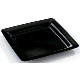 Piatto Plastica Rigida Quadrato Nero 18x18cm (20 Pezzi)