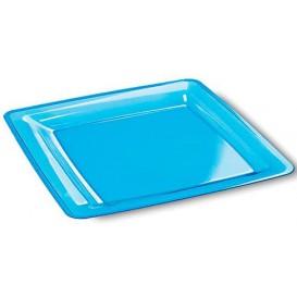 Piatto Plastica Rigida Quadrato Turchese 22,5x22,5cm (6 Pezzi)