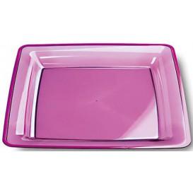 Piatto Plastica Rigida Quadrato Melanzana 18x18cm (6 Pezzi)