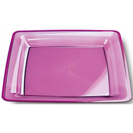 Piatto Plastica Rigida Quadrato Melanzana 22,5x22,5cm (6 Pezzi)