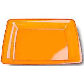 Piatto Plastica Rigida Quadrato Arancione 22,5x22,5cm (6 Pezzi)