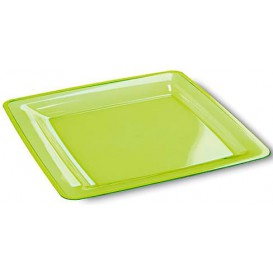Piatto Plastica Rigida Quadrato Verde 22,5x22,5cm (6 Pezzi)