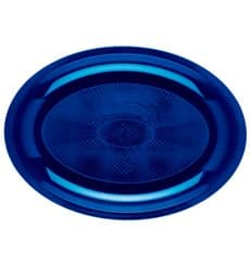 Vassoio Plastica Ovale Blu Round PP 315x220mm (25 Pezzi)