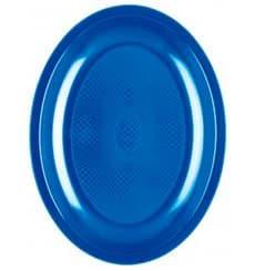 Piatti Plastica Ovali Blu Mediterraneo Round PP 255mm (50 Pezzi)