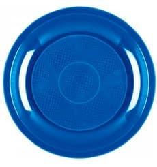 Piatto Plastica Piano Blu Mediterraneo Round PP Ø220mm (50 Pezzi)