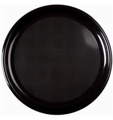 Piatto di Plastica per Pizza Nero Round PP Ø350mm (12 Pezzi)