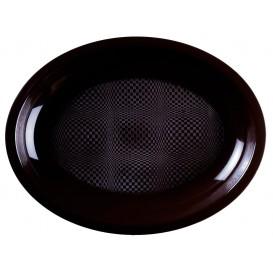 Vassoio Plastica Ovale Nero Round PP 315x220mm (25 Pezzi)