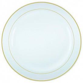 Piatto Plastica Rigida con Bordo Oro 26cm (200 Pezzi)