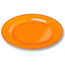 Piatto Plastica Tondo Rigida Arancione 19cm (10 Pezzi)