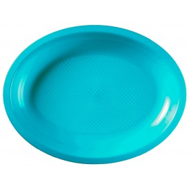 Vassoio Plastica Ovale Turchese Round PP 315x220mm (300 Pezzi)