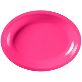 Vassoio Plastica Ovale Fucsia Round PP 255x190mm (50 Pezzi)