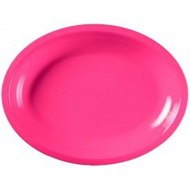 Vassoio Plastica Ovale Fucsia Round PP 315x220mm (25 Pezzi)