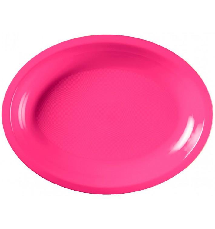 Vassoio Plastica Ovale Fucsia Round PP 315x220mm (300 Pezzi)