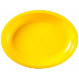 Vassoio Plastica Ovale Giallo Round PP 315x220mm (25 Pezzi)