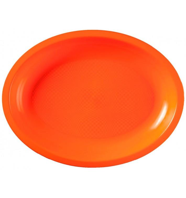 Vassoio Plastica Ovale Arancione Round PP 315x220mm (25 Pezzi)