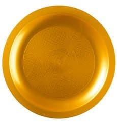 Piatto Plastica Piano Oro Round PP Ø185mm (600 Pezzi)