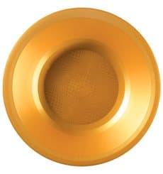 Piatto di Plastica Fondo Oro Round PP Ø195mm (25 Pezzi)