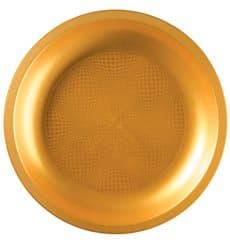 Piatto di Plastica Oro Round PP Ø290mm (10 Pezzi)