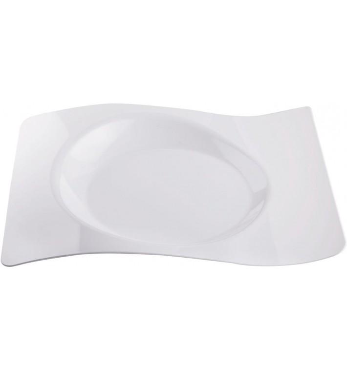 """Piatto di Plastica """"Forma"""" Bianco 28x23 cm (12 Pezzi)"""