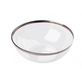 Ciotola di Plastica Rigida Bordo Argento 400ml (8 Pezzi)
