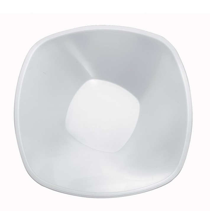 """Ciotola di Plastica PP """"Square"""" Bianco 1250 Ø21cm (3 Pezzi)"""