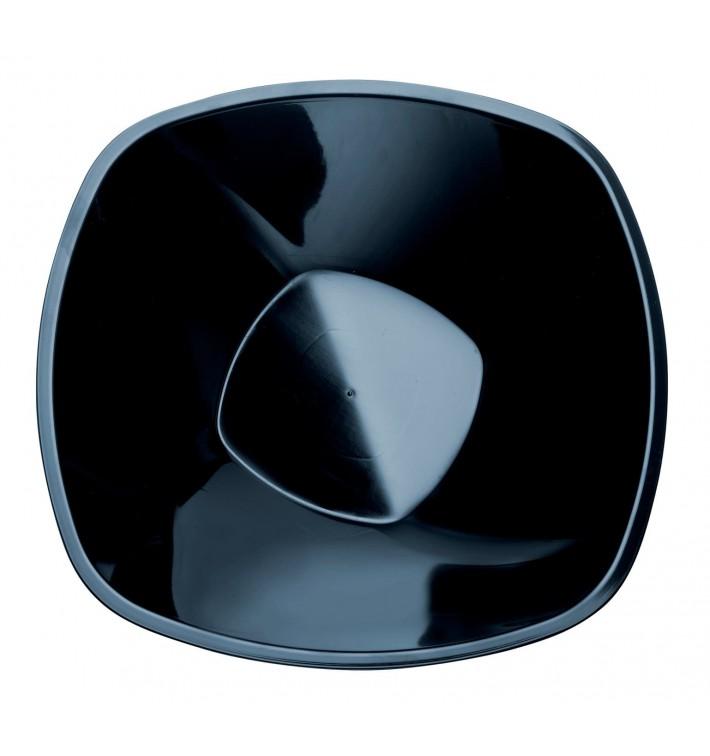 """Ciotola di Plastica PP """"Square"""" Nero 1250 Ø21cm (3 Pezzi)"""