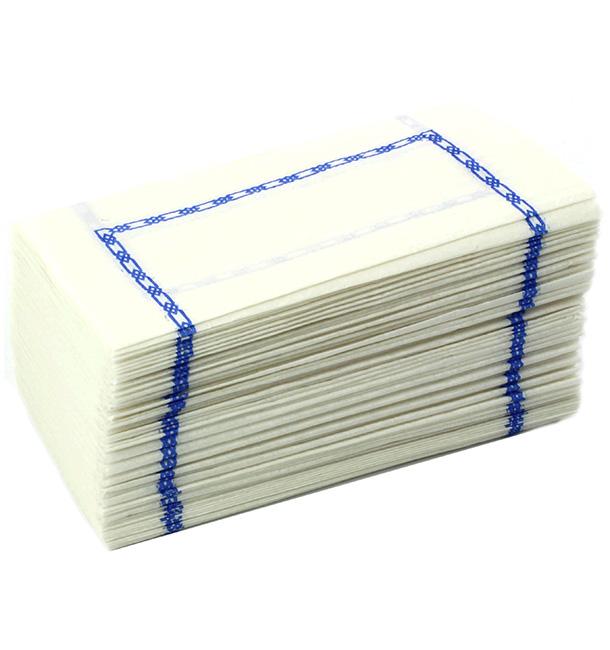 """Tovagliolo di Carta """"Zigzag"""" Bianco Decorato 14x14cm (300 Pezzi)"""