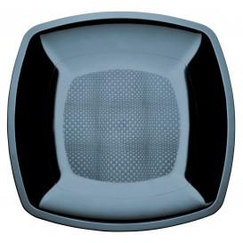 Piatto Plastica Piano Nero Square PS 180mm (150 Pezzi)